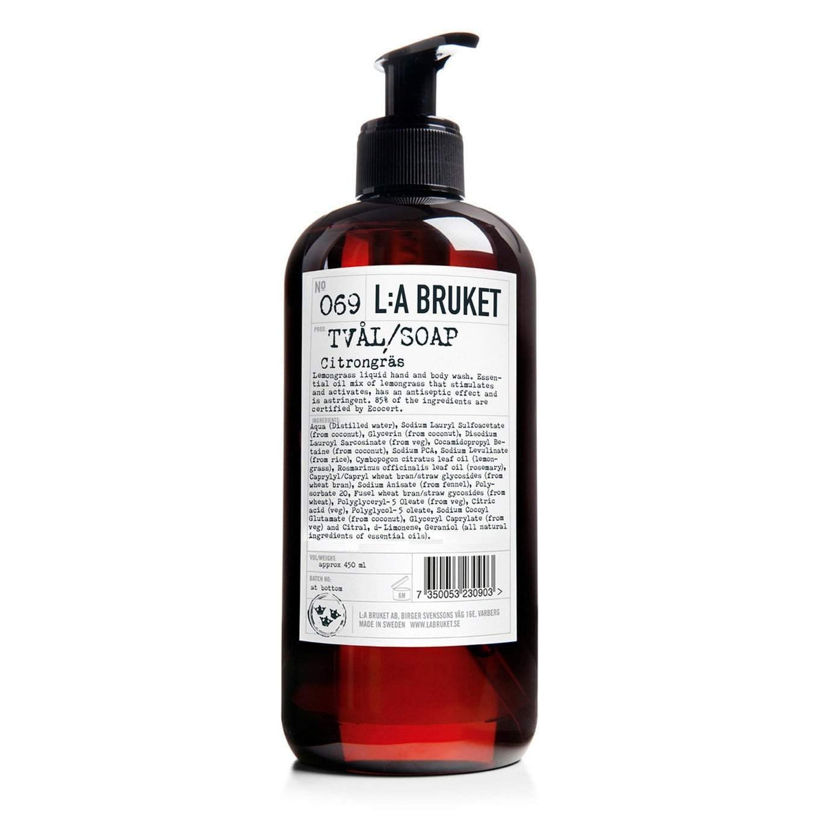 L:A Bruket No. 069 Liquid Soap (Hand and Body) Lemongrass-L:A Bruket-Oak Manor Fragrances