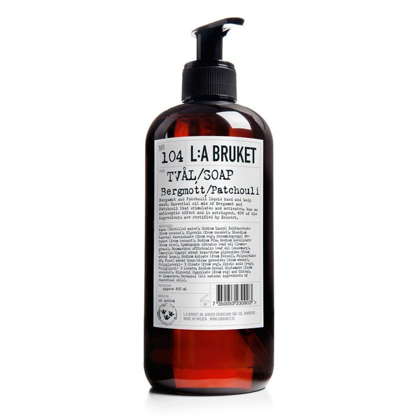 L:A Bruket No. 104 Liquid Soap (Hand and Body) Bergamot Patchouili-L:A Bruket-Oak Manor Fragrances