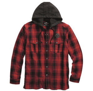 Hooded Flannel Plaid Shirt Jacket