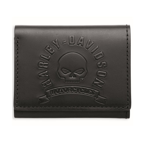 Black Skull Tri-Fold Leather Wallet