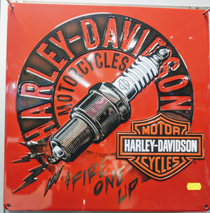 Harley-Davidson Sparked Tin Sign