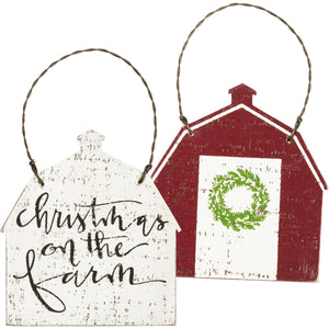 Christmas On The Farm Wood Ornament
