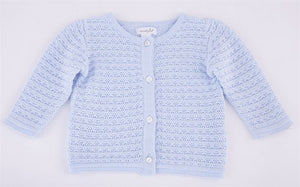 BLUE LAYETTE KNIT CARDIGAN