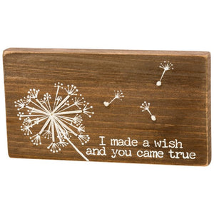 I Made A Wish And You Came True Stitched Wood Block