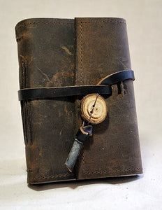 Small Leather Journal with Ties with Recycled Paper