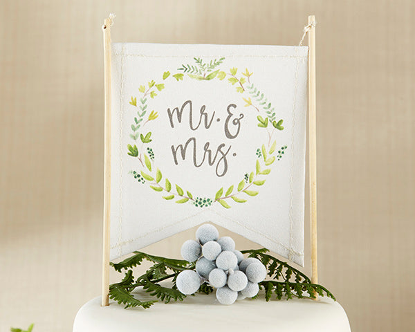 BOTANICAL CANVAS MR. & MRS. CAKE TOPPER