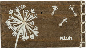 """Wish"" Stitched Wood Block"