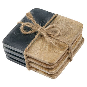 SLATE WOOD COASTER SET4