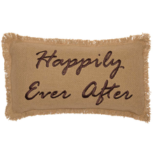 BURLAP NATURAL PILLOW HAPPILY EVER AFTER