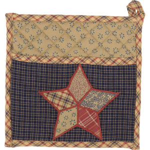 ARLINGTON POT HOLDER WITH POCKET & PATCHWORK STAR 8X8