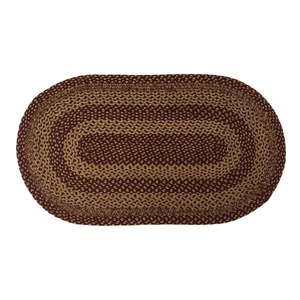BURGUNDY TAN JUTE RUG OVAL 2'3 x 4'