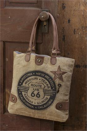 Classic Vintage Canvas Handbag - Route 66