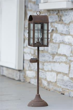 Rustic Lantern with Solar Light Post