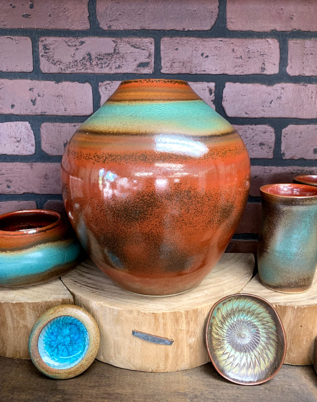 Large Pottery Vase - Copper/Teal