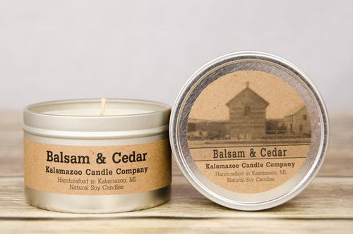 BALSAM & CEDAR: 6.5OZ TIN CANDLE
