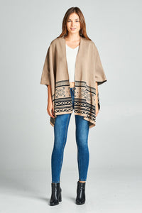 Ladies Abstract Print Kimono - Khaki