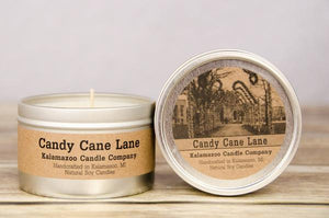 CANDY CANE LANE: 6.5OZ TIN CANDLE