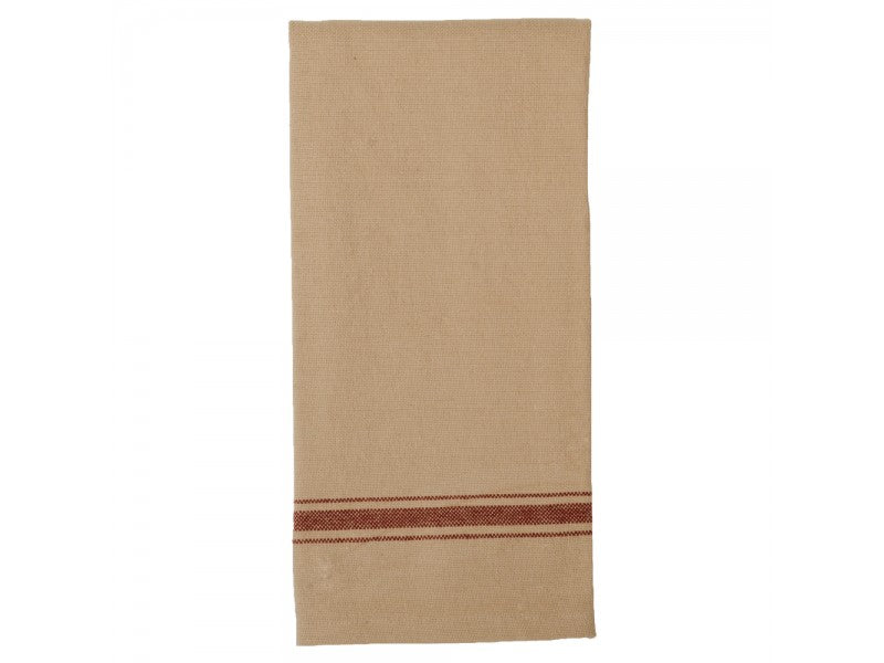 GRAIN SACK STRIPE BARN RED TOWEL