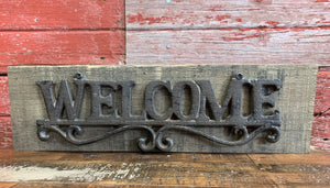 Wood and Cast Iron Welcome Sign