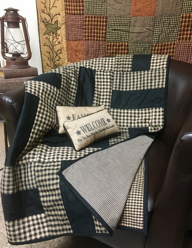 NEW-Handmade Black & Burlap Tan Quilted Throw