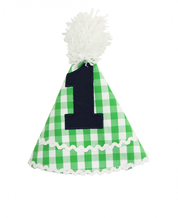 Green Gingham Birthday Hat