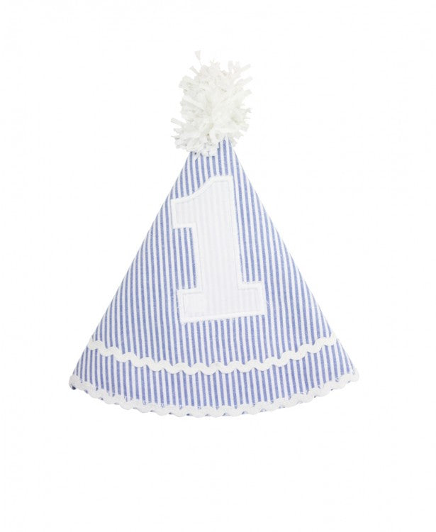 Blue Seersucker Birthday Hat