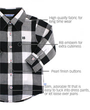 Black & White Plaid Button Down Shirt