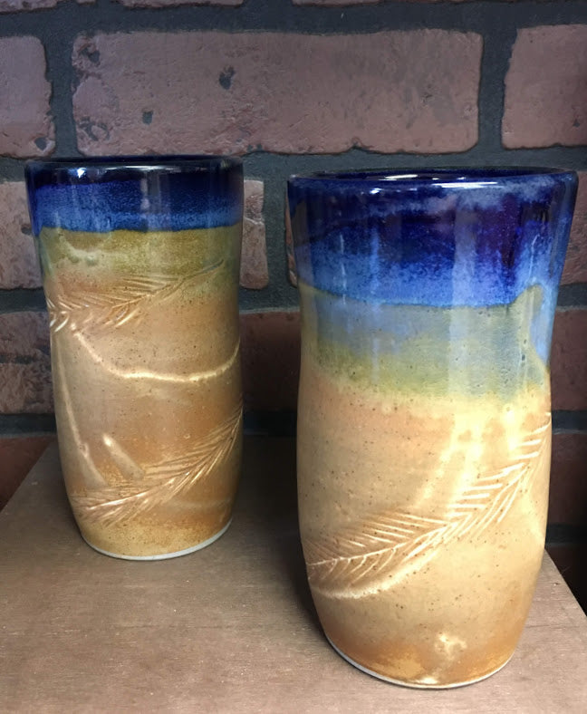 Pottery Cup-Blue/Natural