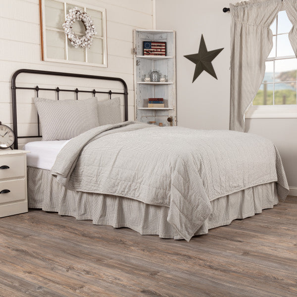 Hatteras Seersucker Blue Ticking Stripe Quilt Coverlet Set