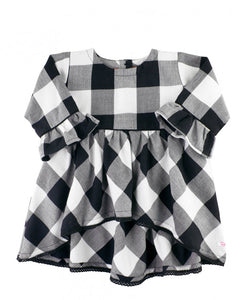 Black & White Plaid High Low Top