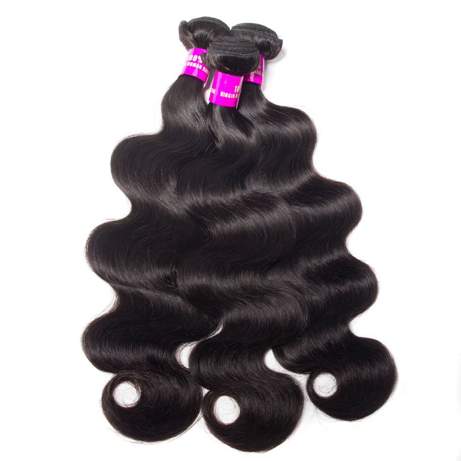 Raw Indian/Brazilian/Malaysian/Cambodian body wave virgin/remy human hair 3 bundles deal