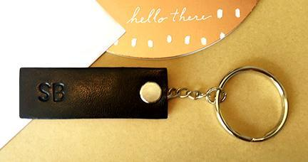 Monogrammed Leather Key Chain