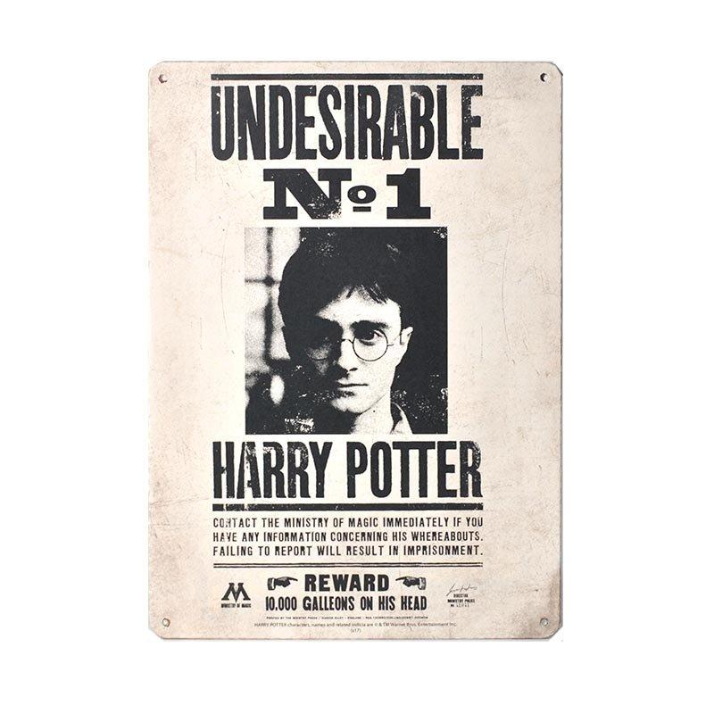 PLAQUE MÉTALLIQUE UNDESIRABLE N°1 21X15 CM - HARRY POTTER