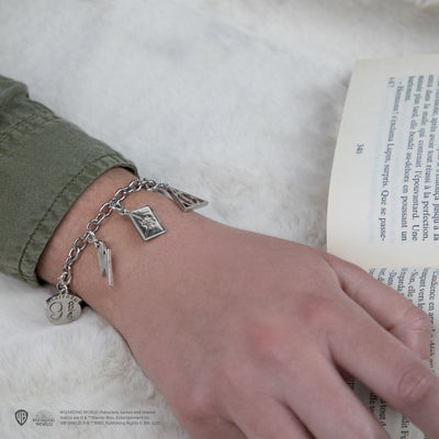 LOT BRACELET + 5 CHARMS SLIDERS HARRY POTTER (RELIQUES DE LA MORT, POUDLARD, LETTRE POUDLARD, QUAI 9 3/4, ÉCLAIR, - HARRY POTTER
