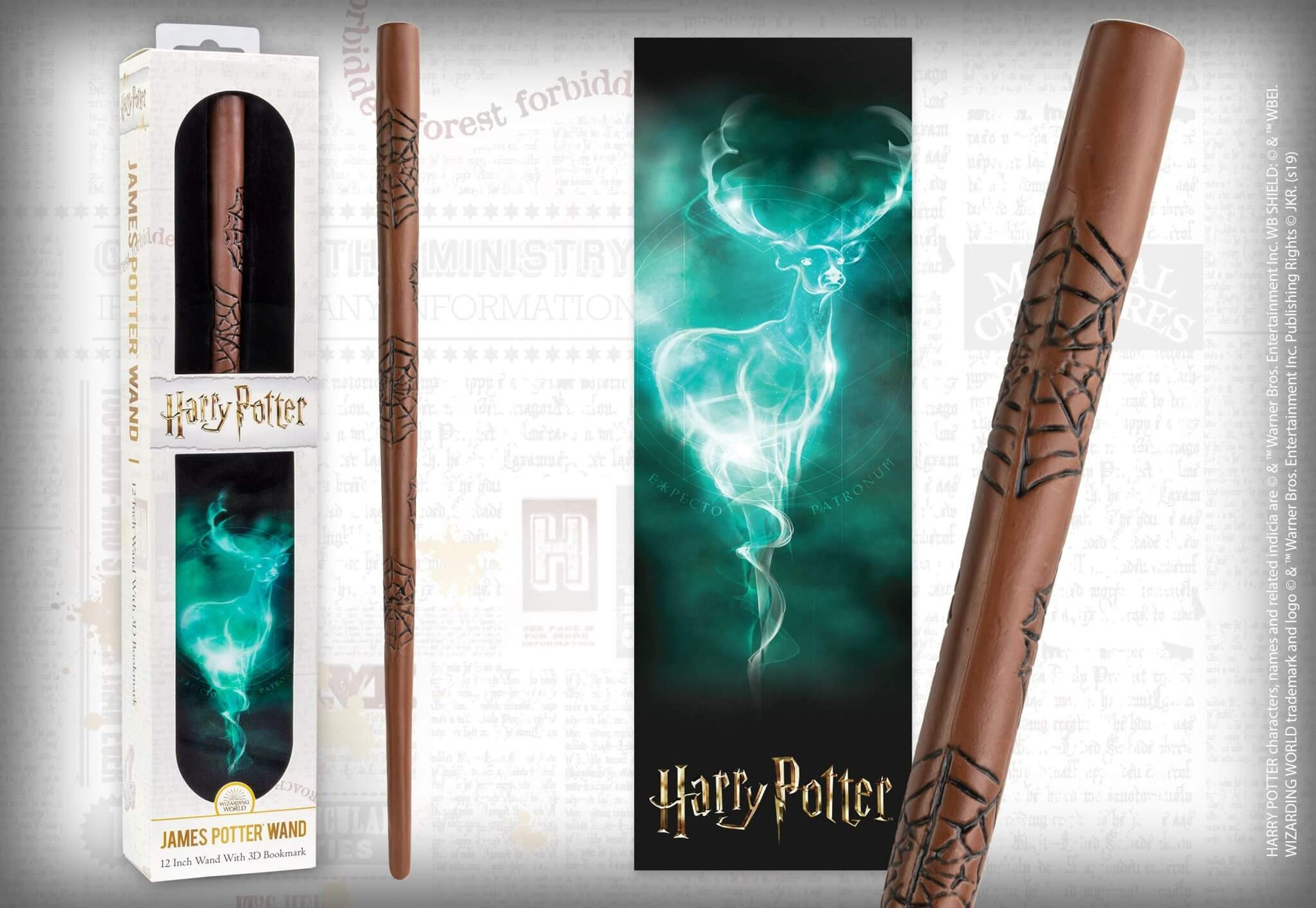 BAGUETTE MAGIQUE JAMES POTTER et MARQUE PAGE 3D JAMES POTTER - HARRY POTTER