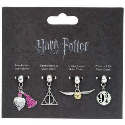 LOTS DE 4 CHARMS  SYMBOLES SLIDER CHARM - HARRY POTTER
