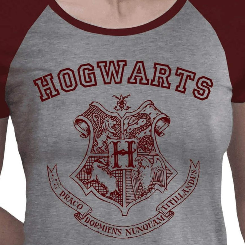 T-SHIRT ALUMNI POUDLARD GRIS ET ROUGE (FEMME) - HARRY POTTER