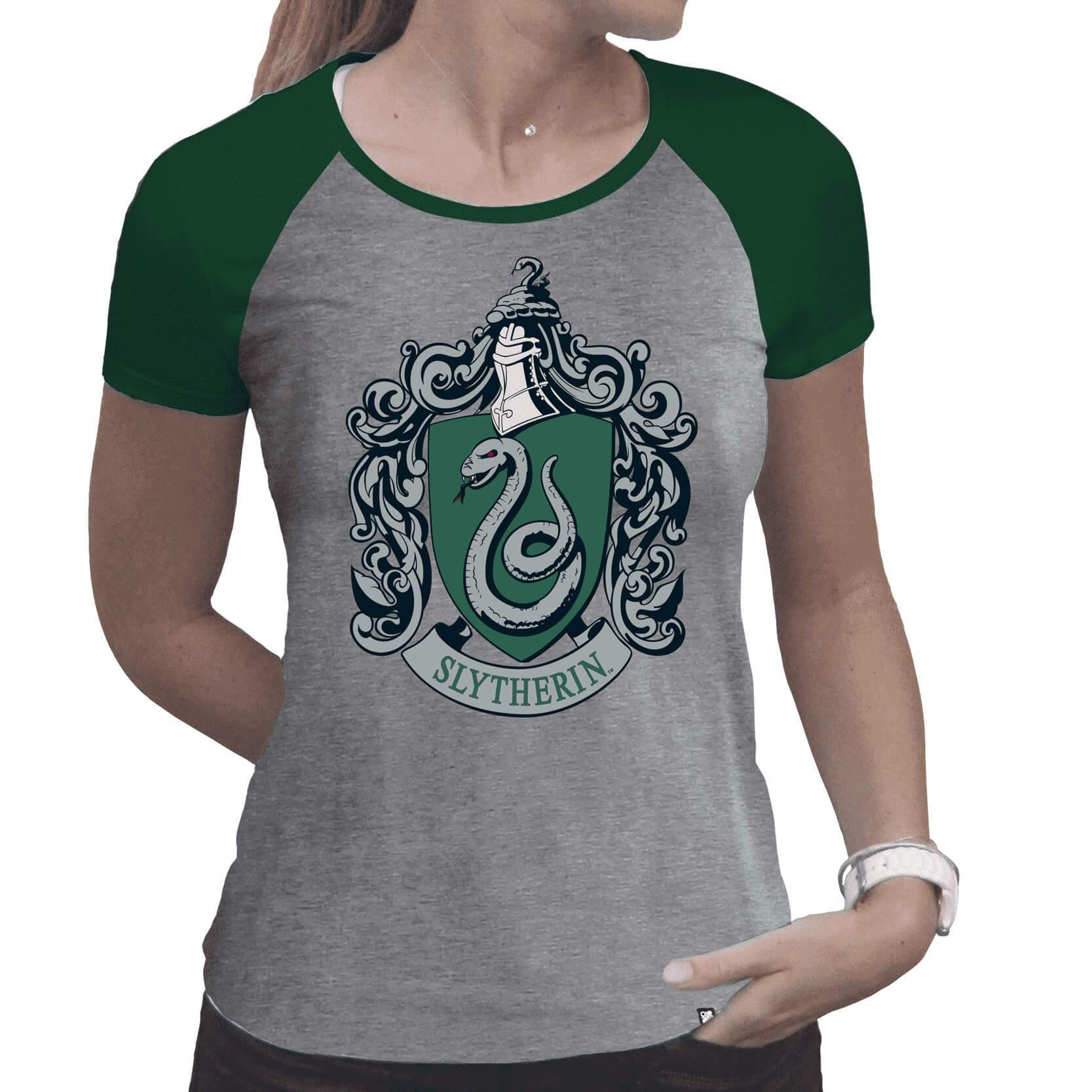 T-SHIRT SERPENTARD PREMIUM GRIS ET VERT (FEMME) - HARRY POTTER