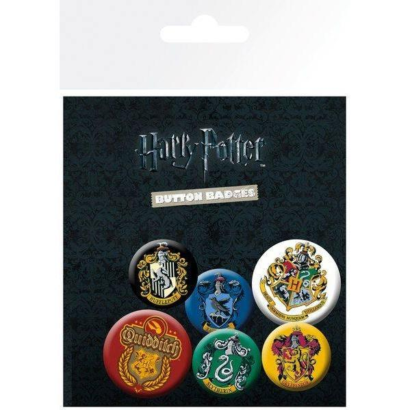 LOT DE 6 BADGES MAISON - HARRY POTTER - la boutique du sorcier