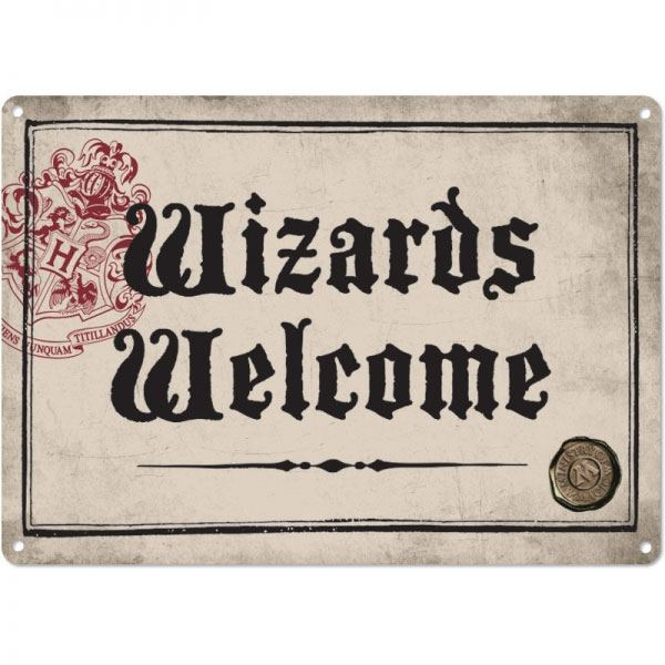 PLAQUE MÉTALLIQUE WIZARDS WELCOME 21 x 15 cm - HARRY POTTER - la boutique du sorcier