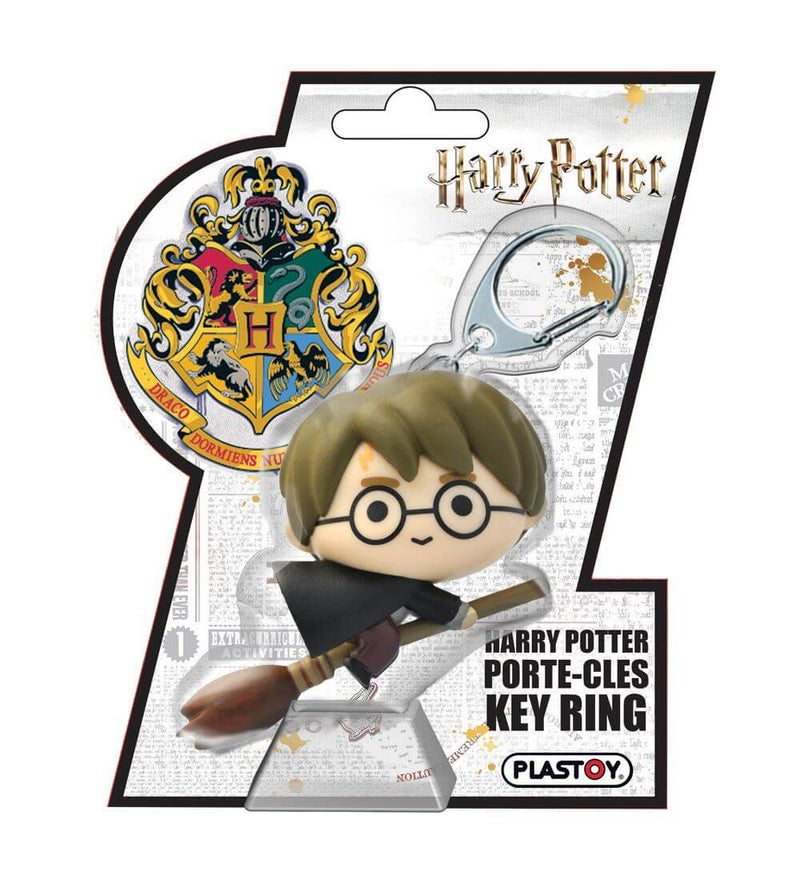 PORTE-CLÉS CAOUTCHOUC CHIBI HARRY POTTER SUR SON BALAI - HARRY POTTER