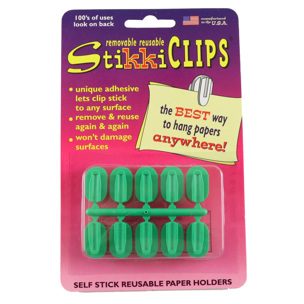 STIKKI CLIPS 10/CARD - GREEN - StikkiWorks
