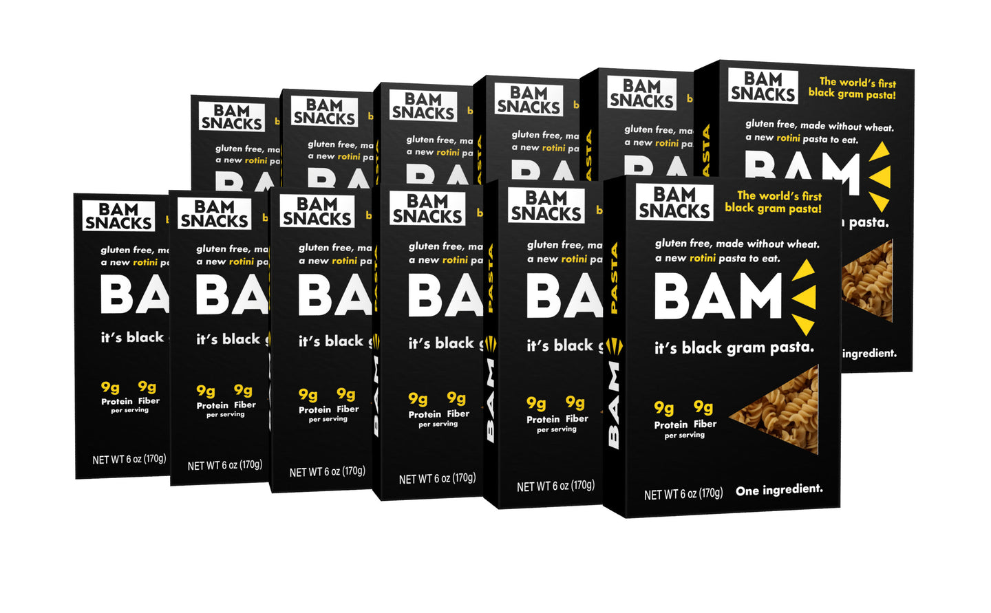 BAM Snacks Black Gram Pasta - Rotini (Pack of 12)