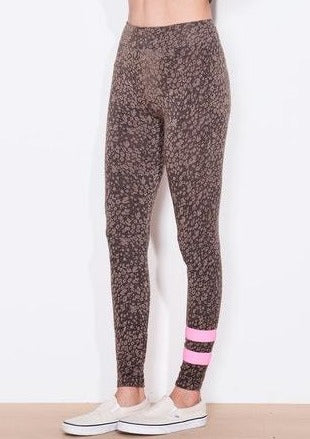 Sundry Stripe Floral Yoga Pant in Teddy