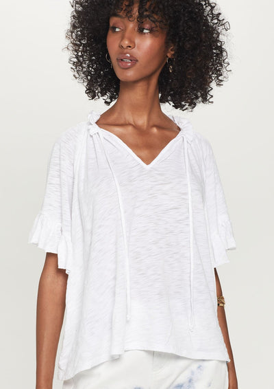 Goldie Butterfly Peasant Top in White - Whim BTQ