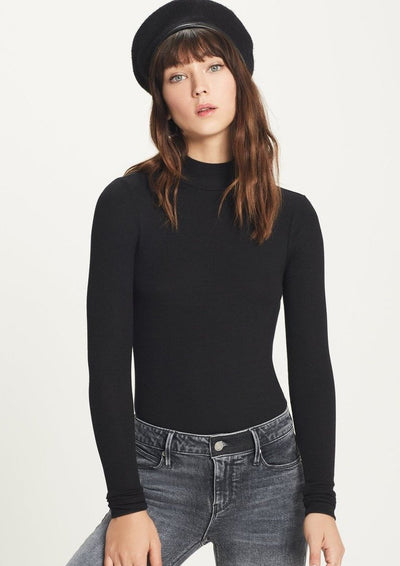 Goldie RIBBED LONG SLEEVE MOCK TEE in Black - Whim BTQ