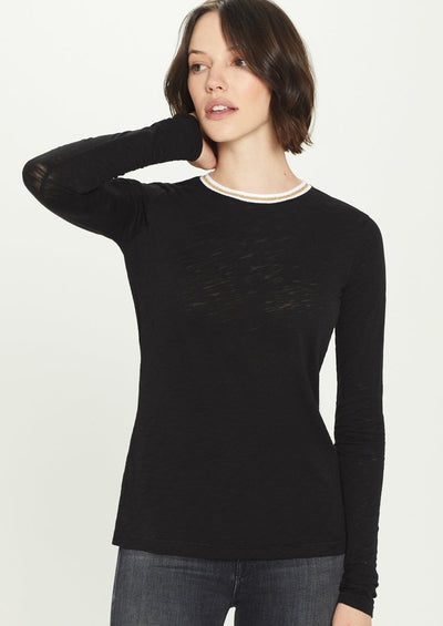 Goldie Metallic Long Sleeve Tee in Black - Whim BTQ