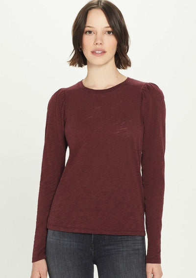 Goldie Long Sleeve Puff Shoulder Tee in Bordeaux - Whim BTQ