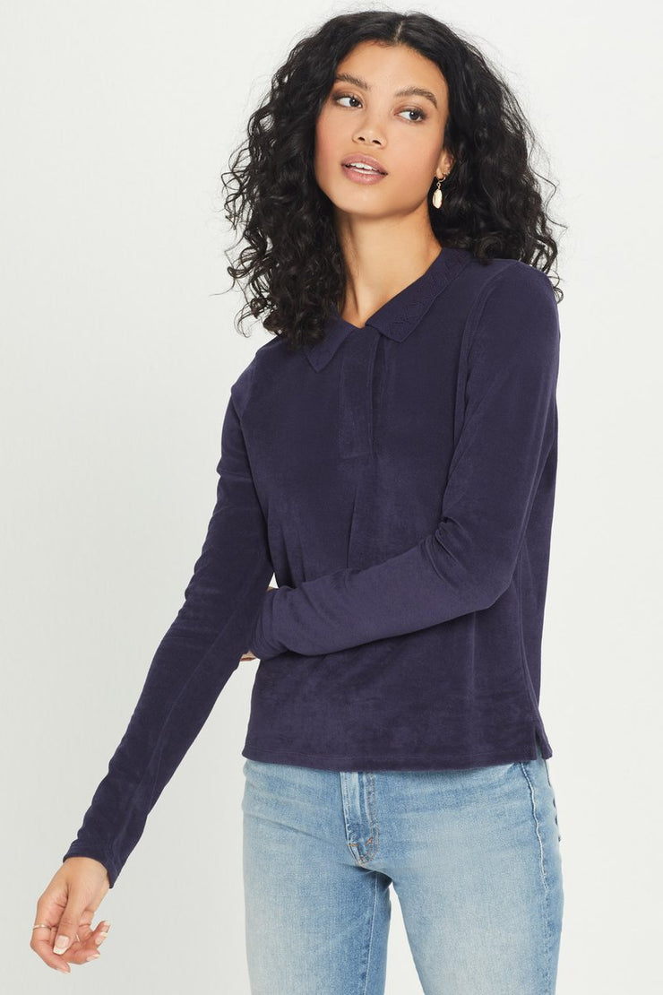 Goldie Long Sleeve Micro Terry Pointelle Polo Top in Navy - Whim BTQ