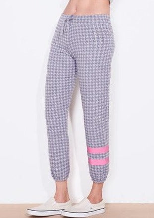 Sundry Stripe Houndstooth Pant in Sapphire